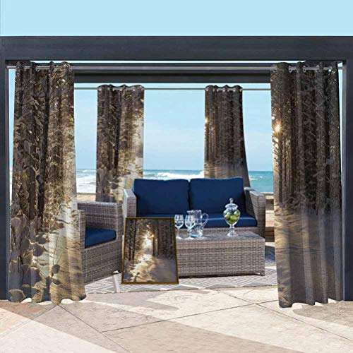 ParadiseDecor Winter Elegant Curtains Blackout Patio Outdoor Curtains Christmas Season with Snow and Frozen Forest Sun Rays Very Cold Woods Scenery Brown Pale Yellow 76W x 108L Inch