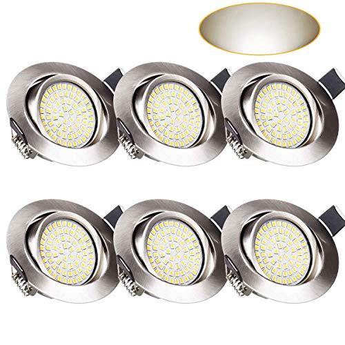 LED Einbaustrahler Set, Wenscha 6er LED Einbauleuchten ultra flach Schwenkbar Einbauspots Deckenspot, 3.5W Neutralweiss 4000K LED Deckenstrahler mit integriertem Leuchtmittel
