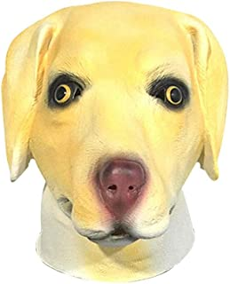 HESANYU AU Labrador Dog-Head mask Halloween Masquerade Performances Props Animal Headdress Latex ( Color : Yellow , Size : One Size )