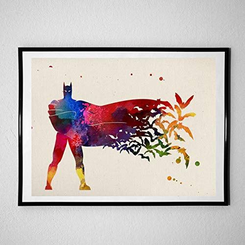 Nacnic Poster Batman. Film sheets, films, and actors. Old movie posters with watercolor style. 8'x11' size