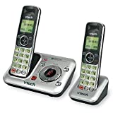 VTech CS6429-2 2-Handset DECT 6.0 Cordless Phone with Answering System and Caller ID, Expandable up to 5 Handsets, Wall-Mountable, Silver/Black