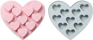 ZHEYANG Lot de 2 moules à gâteau en forme de cœur en silicone avec 10 trous pour la cuisson faite à la main pour savons, c...