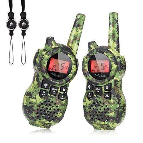 Ryaco Walkie Talkies Infantil Set de 2 Piezas Juguetes para Niños y Niñas 8 Canales de Radio Bidireccionales Largo Alcance de 3km con Linterna LED para Senderismo y Camping