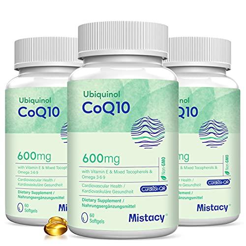 CoQ10 600mg Softgels   High Absorption CoQ10 Ubiquinol Supplement   Reduced Form Enhanced with Vitamin E & Omega 3 6 9   180 Softgels