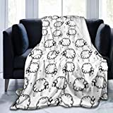 Super Soft Throw Blanket,Animal Funny Sheeps On A Meadow Print,Warm Anti-Pilling Flannel Blankets for Couch Sofa Bedroom 50'x40'