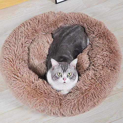 Cama para Mascotas, con una Alfombra Suave para Mascotas, Cama para Gatos Perros, Cama Suave de Felpa de tamaño Mediano -Color café_60cm de diámetro