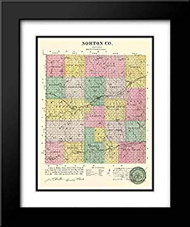 Norton Kansas - Everts 1887 20x24 Black Modern Frame and Double Matted Art Print by Everts Vintage Map