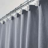 mDesign Luxus Duschvorhang – weicher Badewannenvorhang mit Waffelmuster – leicht zu pflegener Duschvorhang – blau