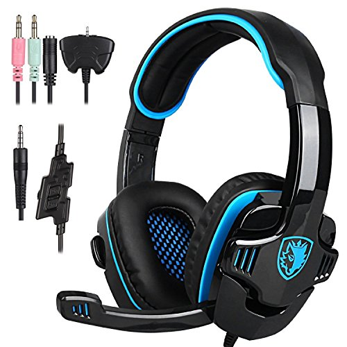 Stereo Gaming Headphone, SADES SA708GT PS4 Gaming Headphone with Microphone (Blue) (Renewed)
