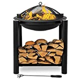 Bonnlo Fire Pit Outdoor Wood Burning Firepit Bowl with Firewood Rack and Mesh Screen for Outside/Back Yard/Camping/Porch/Deck/Patio, 24-Inch,Black