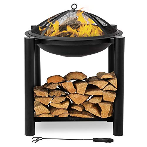 Bonnlo Outdoor Fire Pit with Firewood Rack Steel Wood Burning Pit Fire Bowl with Mesh Screen & Poker for Outside/Back Yard/Camping/Porch/Deck/Patio, 24-Inch,Black