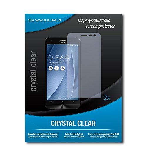 SWIDO Schutzfolie für Asus ZenFone 2 Laser [2 Stück] Kristall-Klar, Hoher Festigkeitgrad, Schutz vor Öl, Staub & Kratzer/Glasfolie, Bildschirmschutz, Bildschirmschutzfolie, Panzerglas-Folie
