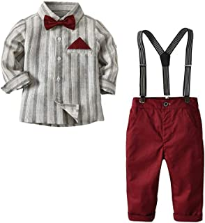 Gentleman Boys Clothing Set Bow Ties Shirts + Suspenders Pants Outfits Suits
