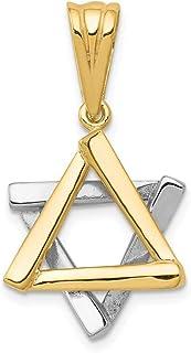 14k Two Tone Yellow Gold Jewish Jewelry Star Of David Pendant Charm Necklace Religious Judaica Fine Jewelry For Women