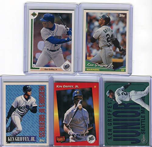 Ken Griffey Jr. Seattle Mariners Assorted Baseball Cards 5 Card Lot