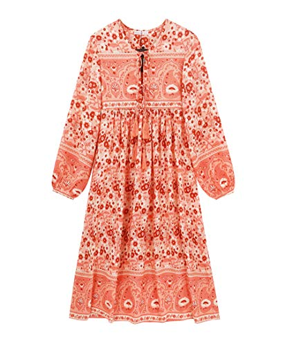 R.Vivimos Women's Casual Bohemian Print Neck Tie Long Sleeve Beach Style Long Midi Dress Vocation Dress