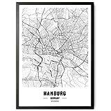 kizibi JUNOMI® Hamburg Poster XL Schwarz Weiss, DIN A2