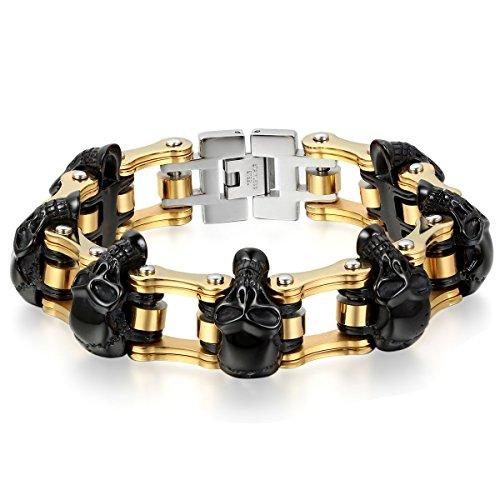 JewelryWe Schmuck Herren Armband, Edelstahl, Gotik Totenkopf Schädel Fahrradkette Biker Link, Schwarz Gold Silber