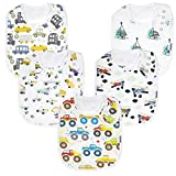 Premium, Organic Cotton Toddler Bibs, Unisex 5-Pack Extra Large Baby Bibs for Boys and Girls by...