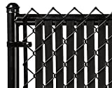 Tube Slats Privacy Inserts for Chain-Link Fence, Double-Wall Vertical Bottom-Locking Slats for 6' Fence Height (Black)