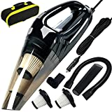Car Vacuum, ANKO DC 12V 120W High Power Portable Handheld Car Vacuum Cleaner, Strong Suction, Wet & Dry Use, Quick Cleaning, with 15ft Power Cord, 2 Filters & Carry Bag- Black