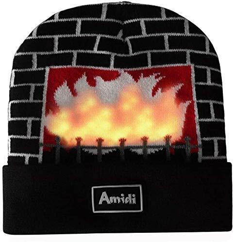 Aomeiqi luce fino Cappello della novità, unisex divertente Beanie Hat Cap con costumi lampeggiante Camino Fiamma di costumi for i bambini delle ragazze dei ragazzi Adlut Natale, compleanno, regalo del