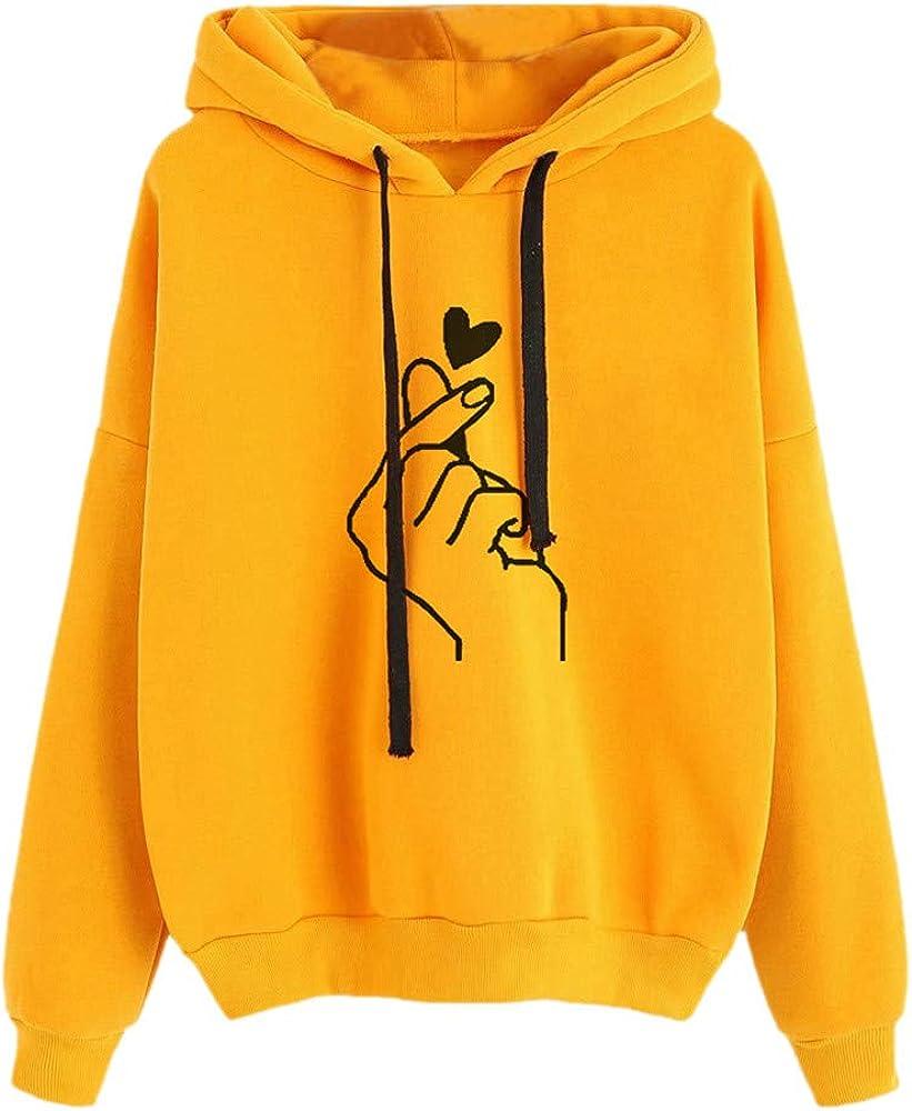 POTO Women Pullover Tops,Women's Casual Pattern Print Hooded Long Sleeve Crop Top Solid Sweatshirts Hoodies