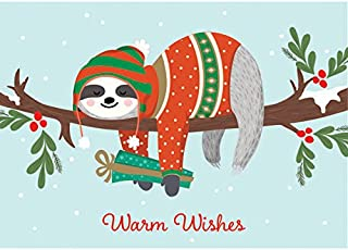 Graphique Sloth Boxed Cards — 15 Cute Winter-Dressed Sloth Holiday Cards Above Embellished Red Foil