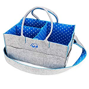 Baby Diaper Caddy Organizer by Fluffy Soul | Trendy Polka Dots Nursery Storage Bin | Travel and Car Changing Bag | Large Portable Wipes Tote with Shoulder Strap
