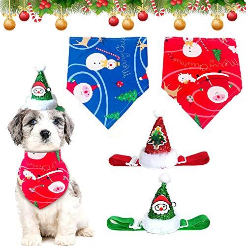 Sunshine smile Bandana per Cani di Natale, 4 Bandana per Animali Domestici,Pet Bandana per Cane e Gatto,Bandana per Cane Triangolare Lavabile Reversibile,Natale Cane Bandana Sciarpa (E)