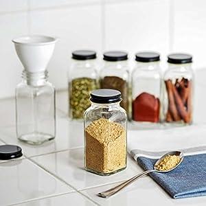 Deluxe Large Spice Jar Set -12 Square Glass 6 oz Spice Bottles, 72 Premium Labels, 12 Shaker Tops, Quality Gold Steel… |