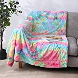 Dark Rainbow Throw Blanket Reversible Faux Fur Soft Fluffy Plush Shaggy Rug Comfortable Tie-dye Multi-Color Bed Cover Home Decor Cozy Warm Microfiber 50'x65' for Coach Living Room Bedroom