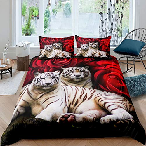 Tiger Bedding Set King Size,Red Rose Flower Comforter Cover for Boys Girls,African Safari Animals Duvet Cover,Big Cat Wild Animal Skin Quilt Cover,Romantic Garden Floral Bedroom Decor