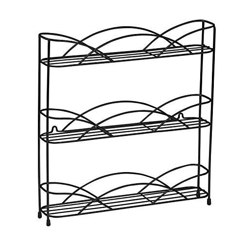 Spectrum Diversified Countertop 3-Tier Rack Kitchen Cabinet Organizer or Optional Wall-Mounted Storage, 3 Spice Shelves, Raised Rubberized Feet, Black