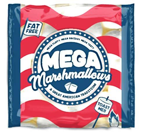Mega Marshmallows - Malvaviscos americanos extragrandes para asarlos a la parrilla o en una hoguera, 550 gramos