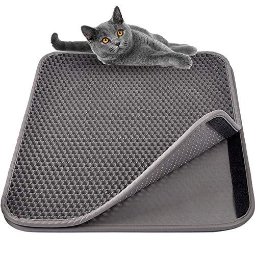 MyfatBOSS groß Katzenstreu Trapper Mat, Doppelte Wasserdichte Schicht für Katzentoilette, größere Löcher mit Reinigen Katze Matte für Chaotische Katzen