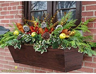 Urban Farmhouse Fiberglass Window Box w/Reclaimed Cherry Finish 30 inch Length