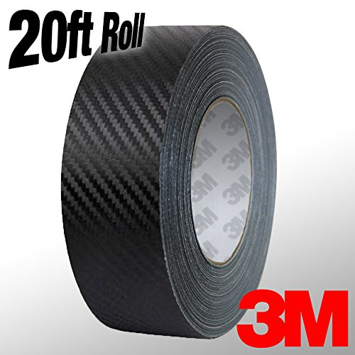 VViViD 3M 1080 Black Carbon Fiber Vinyl Detailing Wrap Pinstriping Tape 20ft Roll (2 Inch x 20ft roll)