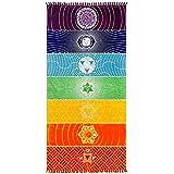 Neasyth Chakra Tapestry Meditation Yoga Rug Towels Mexico Chakras Tassel Striped Floor Mat 59 in (Soft Microfiber 59x30in)