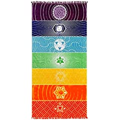 【Material】Chakra yoga towels made with Soft microfiber(like cotton)or Polyester,Soft and comfortable fabric to bring you the most pleasant touch,and with high toughness and elastic recovery ability, against wrinkles and high temperature. 【Advantage】T...