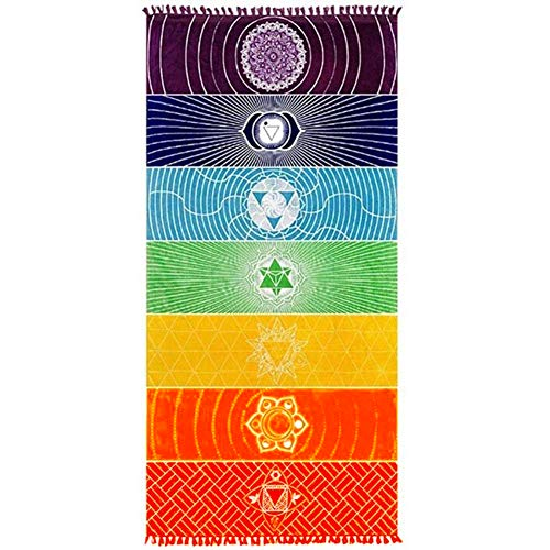 Neasyth Chakra Tapestry Meditation Yoga Rug Towels Mexico Chakras Tassel Striped Floor Mat 59 in (Soft Microfiber 59x30in)