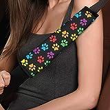 TOADDMOS Funda universal para cinturón de seguridad de coche, 2 piezas, diseño de huellas de colores arcoíris, súper suave, cómodo, almohadillas para cinturón de seguridad para adultos y niños