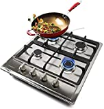 23 Inches High Efficiency 4 Burner Stainless Steel Natural Gas Cooktop, Sealed Burners, Thermocouple Protection and Easy to Clean