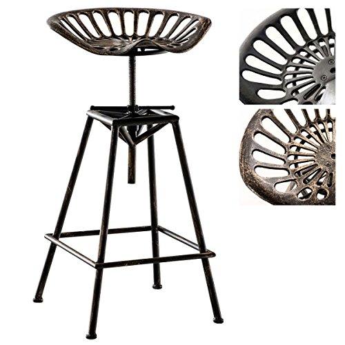 Tabouret De Bar Meto Style Industriel I Chaise Haute Réglable en Hauteur I Piètement en Métal A 4 Pieds avec Repose-Pieds I Design Retro