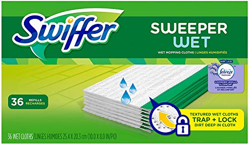 Swiffer Sweeper Wet Mopping Cloth Multi Surface Refills, Febreze Lavender Vanilla & Comfort Scent, 36 count (Packaging May Vary)