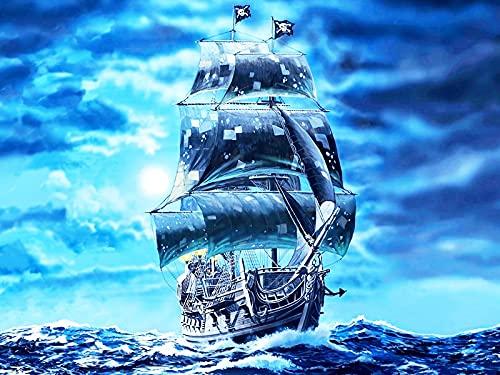 5D DIY punto de cruz barco bordado de diamantes paisaje mosaico kit de bordado de diamantes de imitación hecho a mano pintura de diamantes A7 50x70cm