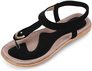 e5697276464219 XAFXAH Sandales Femmes Plates, Chaussures D'Été Sandales Femme Sandales  Confortables Télévision Sauvage De