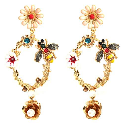 Ai.Moichien Dangle Drop Earrings Flower Rhinestone Gold Plated Boho Women Elegant Jewelry Gifts Party Accessories