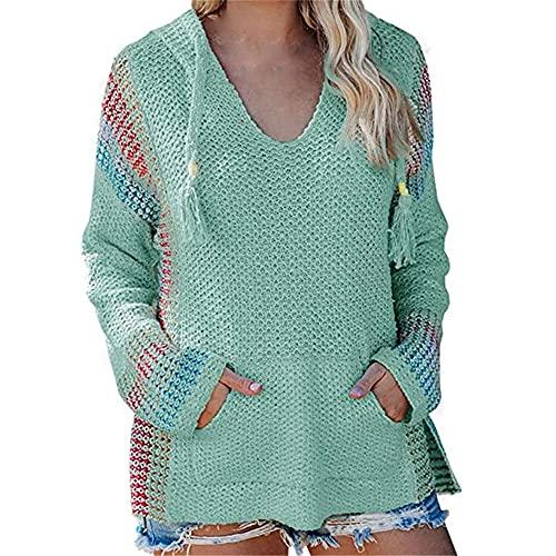 PRJN Mujeres Otoño e Invierno Jerseys de Manga Larga con Capucha Cuello Redondo Suelto Suéteres de Colores Mezclados de Punto Top de túnica Informal Suéter de Punto para Mujer Blusa Camisas Sudadera