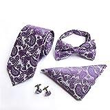 Herren Taille Krawatte Schleife Tasche Manschetten 4-teiliges Set Hochzeitsgeschenk 07 146x8x3.5cm zu arbeiten